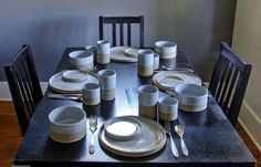 Modern dinnerware dish set handmade table by vitrifiedstudio