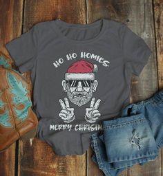7217064f7 Women's Funny Christmas Shirt Christmas T-Shirt Santa Shirt Ho Ho Homies  Funny Christmas Tee Hipster Santa Shirts