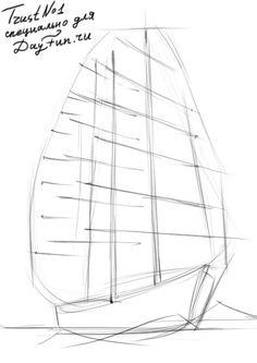Как нарисовать паруса карандашом поэтапно 2