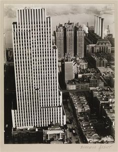 Picture taken from the Chanin Building (East 42nd Street and Lexington Avenue) of the Daily News Building (220 East 42nd Street) with the Windsor Tower building to the right and the power plant of Consolidated Edison to the far right. The East River lays beyond. (1935)