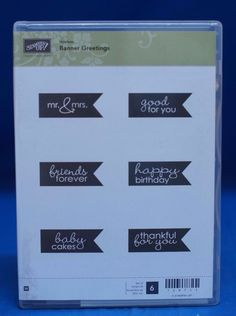 Stampin' Up! Hostess Banner Greetings Mr & Mrs Friends  Set of 6 Stamps NIB #StampinUp