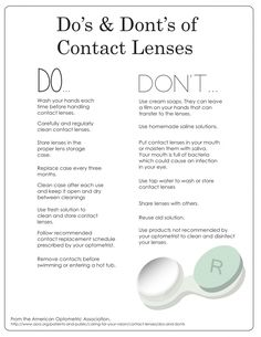 Contact Lens Do's and Don'ts. Helpful tips for caring for your contact lenses and maintaining good vision hygiene Contact Lenses Tips, Serum, Dry Eyes Causes, Anti Aging, Eye Infections, Healthy Eyes, Eyes Problems, Eye Doctor, Eyes