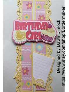 This design was created using the Baby Girl Bright Stickers and paper from Creative Memories. The digital design for the title is available for purchase on my ETSY site. You provide the stickers and paper.I have the design ready for you! Birthday Scrapbook Layouts, Scrapbook Borders, Scrapbook Sketches, Scrapbooking Layouts, Baby Girl Scrapbook, Kids Scrapbook, Scrapbook Cards, Cute Borders, Christmas Border