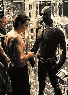 Christian Bale as Bruce Wayne/Batman behind the scenes of The Dark Knight Rises.