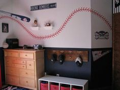 Boy baseball room, my son's would love this!