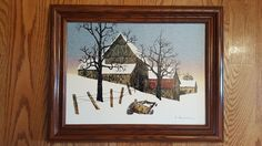 "Framed16"" By 12"" Original H. Hargrove Winter Scene Signed Canvas Oil Painting  #IllustrationArt"