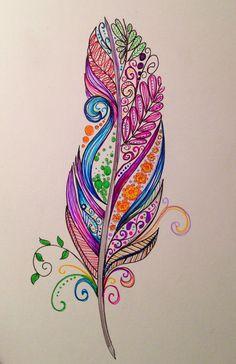 Feather tattoo design by Dina Verplank #tattoo design #tattoo patterns  http://awesometattoopics.lemoncoin.org