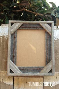 """Reclaimed, up-cycled, handmade rustic barnwood frame. With barbed wire detail. 8x10"""" $28"""