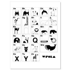 ABC Nederlands Zwart/Wit - Poster (wform)