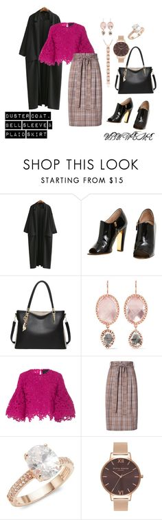 """DUSTER COAT, BELL SLEEVE & PLAID SKIRT"" by mchangwe on Polyvore featuring Chanel, Larkspur & Hawk, Costarellos, Creatures of the Wind, Saks Fifth Avenue, Olivia Burton and Anne Sisteron"