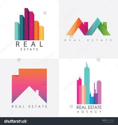 Set of colorful multicolored real estate logo designs for business visual identity. Houses and skyscrapers theme