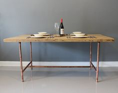 Made to Order - Reclaimed Urban Wood Dining Table or Desk with Real Copper Industrial Pipe Legs - FREE SHIPPING and Lifetime Warranty