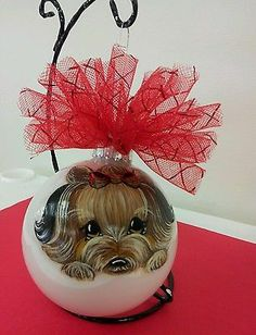 Handpainted Yorkie Christmas Ornament Ball Home Decoration Dog Misspaintsalot on ebay by misspaintsalot