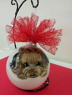 Handpainted Yorkie Christmas Ornament Ball Home Decoration Dog Misspaintsalot on ebay by misspaintsalot