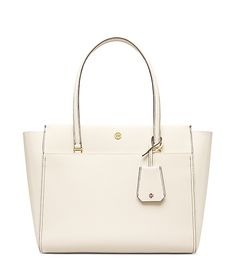 "PARKER TOTE in ivory/mango - Holds a 13"" laptop, a continental wallet, a small makeup bag, sunglasses and an iPhone 6 Plus Leather Zipper closure Shoulder straps with 8.76"" (22 cm) drop 1 exterior front pocket 2 interior hanging pockets Luggage tag Height: 11.55"" (29 cm) Length: 13.75"" (34.5 cm) Depth: 6.37"" (16 cm)"