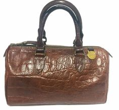 Vintage Mulberry brown croc embossed leather mini handbag by Roger Saul. 1990