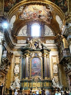 The tomb of St. Ignatius of Loyola, in Rome; today 7/31 is his feast day. Patron of Jesuits.