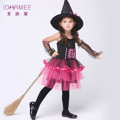 re Costume Fantaisie Enfants Halloween Sorcière Costume Filles Cosplay De Noël Halloween Fantaisie Layered Robes Chapeau Cos Witch Party Costume, Little Girl Witch Costume, 2017 Halloween Costumes, Witch Costumes, Halloween Outfits, Girl Costumes, Cosplay Costumes, Halloween Cosplay, Witch Cosplay