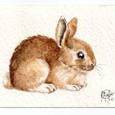 Original ACEO #Bunny..Original Painting Watercolor Card. Etsy