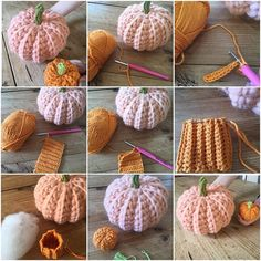 How to make a Crochet Pumpkin in any size and any yarn Make a chain to the length that you want your pumpkin height to be. Work rows of DC ( UK terms ) in to the back loop only. Ch 1 and turn at the end of each row. Make a rectangle , the finished length will be the diameter of your pumpkin. Fold in half, short edges together , join in DC. Sew a gathering thread around the bottom, pull up, sew in place. Turn pumpkin the right way out, stuff, gather up and sew the top leaving a small ho...