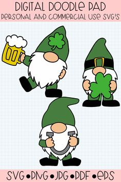 Get ready for St. Patrick's day with cute gnomes. SVG format for easy cutting. Also comes in PNG, JPG, PDF and EPS format. St Patricks Day Crafts For Kids, St Patrick's Day Crafts, Rock Crafts, Jar Crafts, St Patricks Day Clipart, St. Patricks Day, Crafts For Seniors, Crafts For Teens, Vinyl Crafts