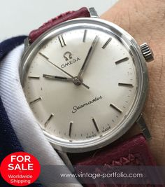 Omega Seamaster Ladys Lady's Watch with pink leather strap, Vintage #omegaseamaster #seamaster #omega