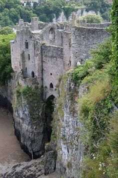 Chepstow Castle ruins in Monmouthshire, Wales, on top of cliffs overlooking the River Wye, is the oldest surviving post-Roman stone fortification in Britain.