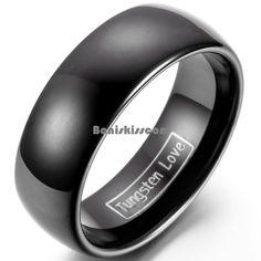 8mm Tungsten Carbide BLACK Wedding Band Men's Women's Engagement Bridal Ring #Unbranded