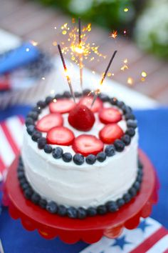 Celebrate the Fourth of July with this simple sparkler cake