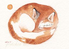 ACEO ORIGINAL watercolor painting Del Rio 'KITSUNE'  fox spirit totem animal Foxes and human beings lived close together in ancient Japan. According to Japanese folklore fox has the ability to shape shift into a woman. Fox returns to her husband each night as a woman but leaves each morning as a fox.#MiniatureACEOArtCard