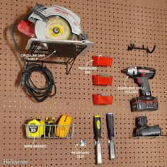 25 Brilliant Garage Pegboard Organization Ideas for Tools Storage at Wall Pegboard Shelf Bracket, Metal Pegboard, Pegboard Organization, Organization Ideas, Painted Pegboard, Organizing Tools, Organising, Drill Holder, Garage Organization