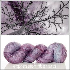 Expression Fiber Arts, Inc. - TREE FROST SUPERWASH MERINO SILK PEARLESCENT FINGERING yarn - muted lavender/gray