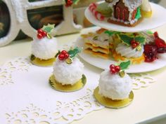 Miniature Pastry from France - Boule de Neige (Snowball) - Individual French Christmas Pastry - 12th Scale Miniature Food
