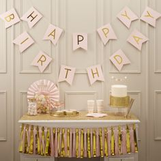 "Happy Birthday Garland ""Pastel Perfection"" - gold / pink - Happy Birthday-Girlande ""Pastel Perfection"" – gold/rosa – Birthday decoration with glamor factor: pink pennant garland with gold glittering & # Happy Birthday & # lettering. Pink Happy Birthday, Happy Birthday Bunting, Birthday Garland, Party Bunting, Birthday Party For Teens, Golden Birthday, Happy Birthday Parties, Pink Parties, Bunting Banner"