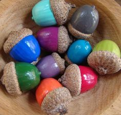 DIY : painted acorns - colorful - autumn - fall - decor - natureBasteln im Herbst Diy And Crafts, Craft Projects, Crafts For Kids, Projects To Try, Arts And Crafts, Autumn Crafts, Nature Crafts, Christmas Crafts, Acorn Crafts