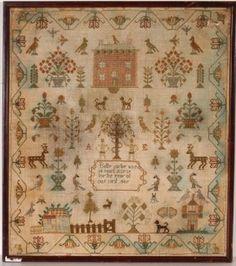 151: Betty Carter Adam & Eve Sampler, 1807. : Lot 151