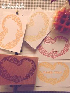 Stamp ハンドメイド消しゴムはんこ 薔薇ハート メモメッセージ インテリア 雑貨 Handmade ¥460yen 〆10月07日