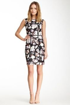 Floral Piped Sheath Dress