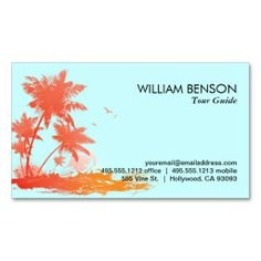 Palm Trees Business Card Template. I love this design! It is available for customization or ready to buy as is. All you need is to add your business info to this template then place the order. It will ship within 24 hours. Just click the image to make your own!