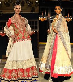 Loving the red long sleeve blouse on cream lengha... best of two worlds-indian and Pakistani!