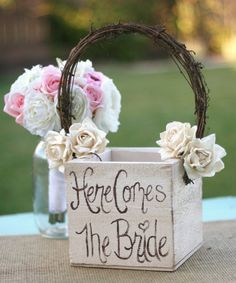 Some rendition of this as the flower girl basket...