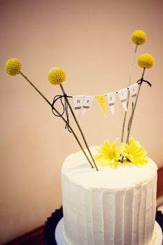 Craspedia Flower Wedding Cake Topper