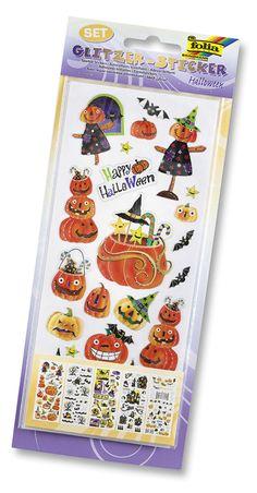 Hexen, Fledermäuse, Kürbisse, Spinnen und vieles mehr - das alles finden Sie auf unseren neuen Glitzer-Stickern für Halloween. Mehr unter http://www.folia.de/epaper/folia_neuheitenkatalog_2016/catalog_5920639/#/18