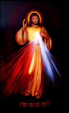 Jezu Ufam Tobie, Obraz Jezusa Miłosiernego,  150cm x 90cm,  Obraz olejny na płótnie