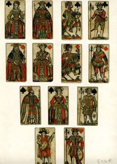 Twelve court playing-cards and 1 card with a figure playing a guitar, including the king, queen, knight and knave of clubs and diamonds, king, queen and knave of spades, and knave of hearts. The knaves of hearts and diamonds each display the letter B    Hand-coloured etching  Backs printed in blue with a design in dots of diamonds which each enclose a dotted circle  17th Century