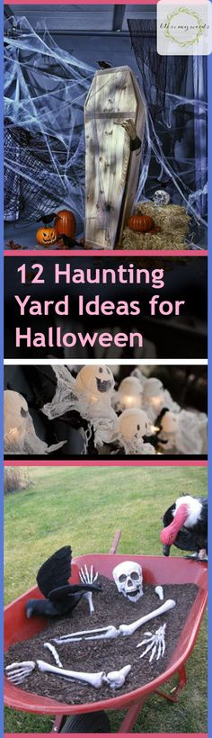 Whether you leave them up for the month or just long enough to greet trick-or-treaters during the witching hour, your yard sets the tone for the entire Halloween experience. If you want it to be extra memorable this year, here are 12 hauntingly good... #diyhalloween #halloweenyarddecor #holidayyard