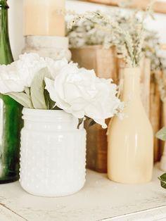 hobnail vase white flowers lemon decor