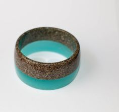 Blue/Turquoise Resin Bangle with Sand by BrineWind on Etsy
