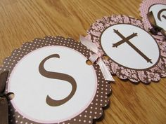 Pink and Brown Baptism Banner