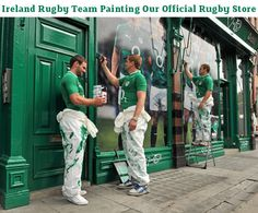 Ireland Rugby Team Paint Dawson Street Store Green Irish Rugby, Irish Men, Leinster Rugby, Ireland Rugby, International Rugby, Ireland Holiday, Womens Rugby, Australian Football, Rugby League